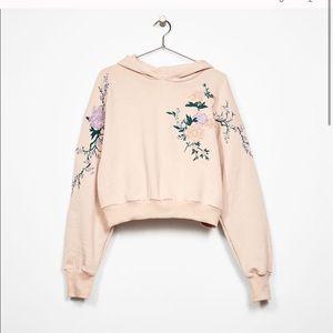 Bershka | Floral Embroidered Drop shoulder Hoodie